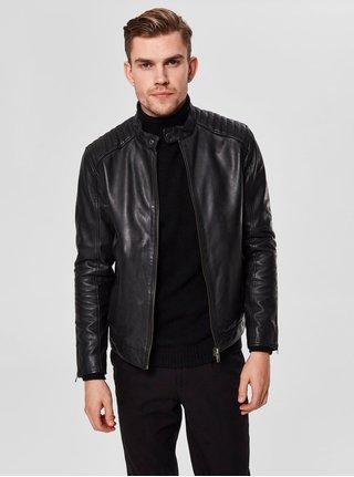 Jacheta neagra din piele cu fermoare pe maneci Selected Homme
