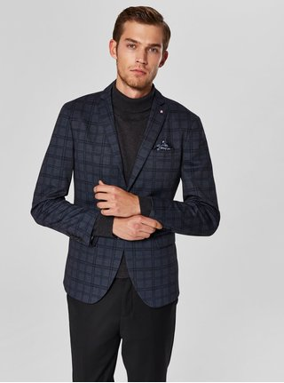 Sacou albastru inchis in carouri Selected Homme Fred