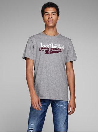 Sivé melírované tričko s potlačou Jack & Jones Izzle Tee