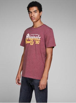 Vínové melírované tričko s potlačou Jack & Jones Izzle Tee