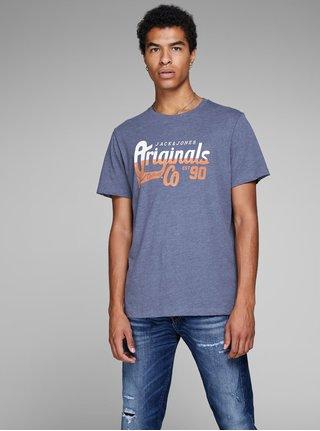 Modré tričko s potlačou Jack & Jones Izzle Tee