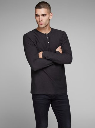 Tricou polo negru slim fit in dungi Jack & Jones Joseph