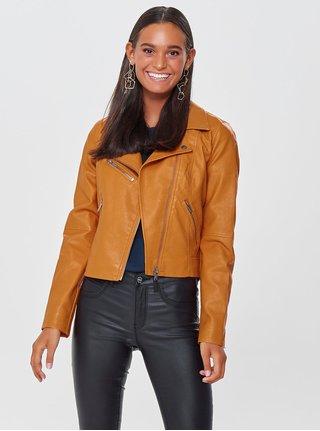 Oranžová koženková bunda ONLY Vigga