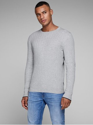 Pulover gri lejer Jack & Jones Bobby