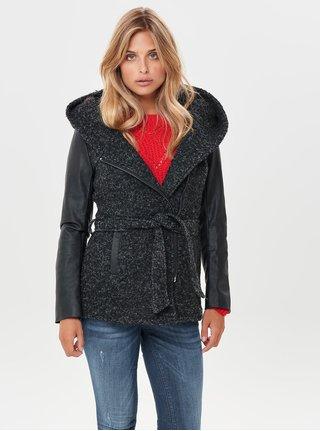 Černý žíhaný kabát s příměsí vlny ONLY Lisford