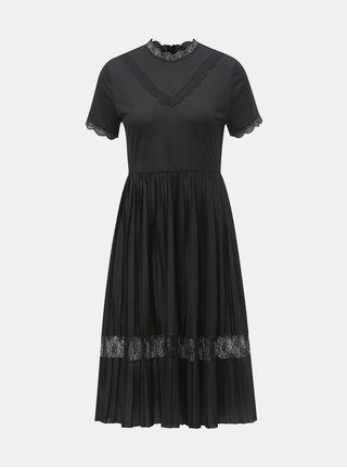 Černé šaty s průsvitným topem a žebrovanou sukní Jacqueline de Yong