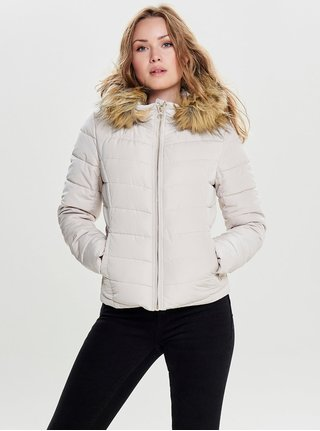 Krémová zimní prošívaná bunda s umělým kožíškem ONLY Ellan