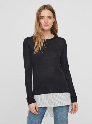 Tmavomodrý tenký sveter so všitou košeľou časťou VERO MODA Ania