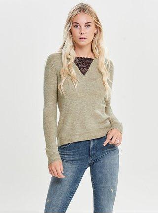 Béžový žíhaný svetr s krajkou ONLY Miramar
