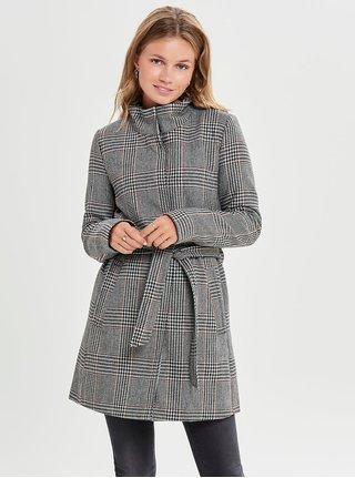 Šedo-černý vzorovaný kabát s páskem ONLY Ashley
