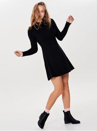 Rochie tricotata neagra cu guler inalt ONLY Sonia