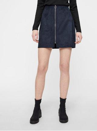 Tmavě modrá sukně v semišové úpravě se zipem VERO MODA Need