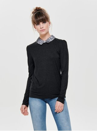 Tmavě šedé tričko s dlouhým rukávem a krajkovým límečkem ONLY Wilma