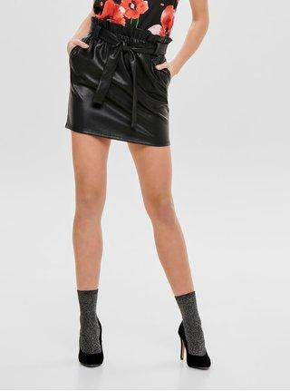 Čierna koženková sukňa s gumou v páse ONLY Coc