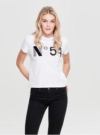 Biele tričko s potlačou ONLY Magga