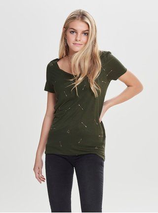 Tricou verde inchis lejer cu motiv inimi si sageti ONLY Sabel