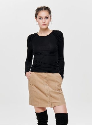 Tricou negru cu pliuri pe umeri ONLY Runa