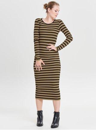 Rochie midi mustar-negru in dungi cu maneci lungi ONLY Sif