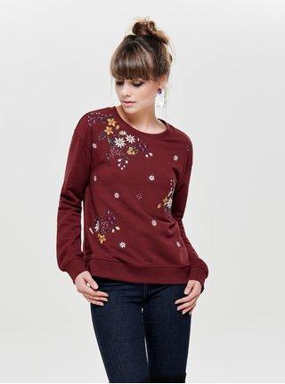 Bluza sport bordo cu broderie florala ONLY Whitney