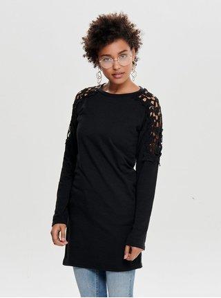 4fbd277851cf Čierne mikinové šaty s čipkovanými detailmi ONLY Asta