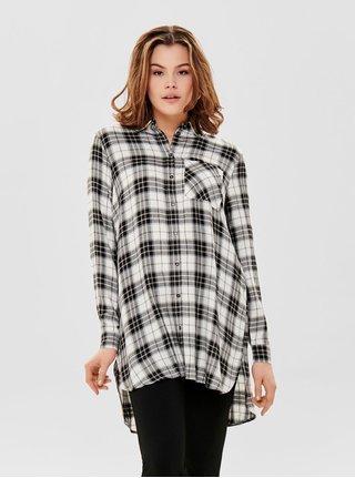 4a7153d1b47 Černo-bílá dlouhá kostkovaná košile ONLY