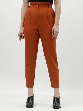 Oranžové zkrácené kalhoty s vysokým pasem Miss Selfridge