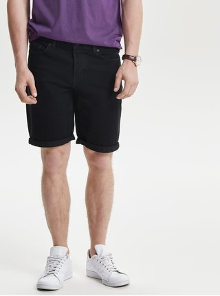 Pantaloni scurti negri din denim  - ONLY & SONS Ply