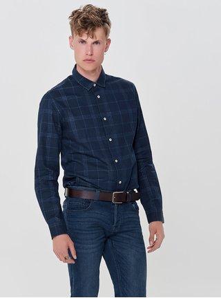 Tmavě modrá kostkovaná slim košile ONLY & SONS