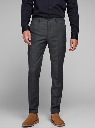 Sivé melírované oblekové nohavice s prímesou vlny Jack & Jones Laris