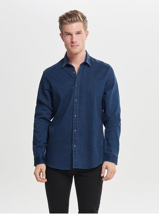 Camasa albastru inchis slim fit din denim ONLY & SONS Ole