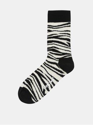 Krémovo-černé ponožky se zebřím vzorem Happy Socks Zebra