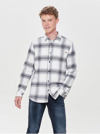 Šedo-bílá  regular kostkovaná flanelová košile ONLY & SONS
