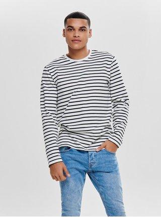 Tricou negru-alb in dungi regular cu maneci lungi ONLY & SONS Evan