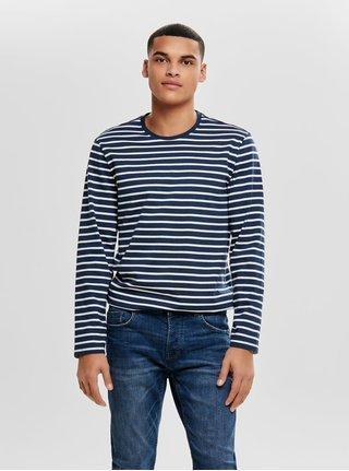 Bielo–modré pruhované regular tričko s dlhým rukávom ONLY & SONS Evan