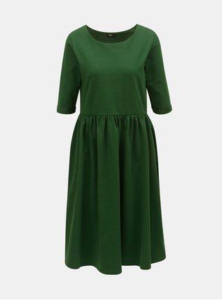 Tmavě zelené volné šaty s kapsami ZOOT