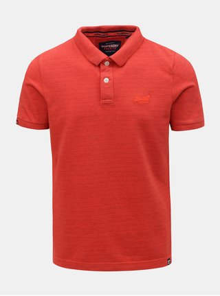 Tricou polo barbatesc rosu cu broderie Superdry Vintage Destroyed