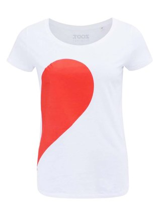 Tricou alb cu print pentru femei - ZOOT Original Her Side of the Heart