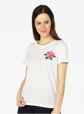 Tricou crem cu broderie florala - VERO MODA Lenna