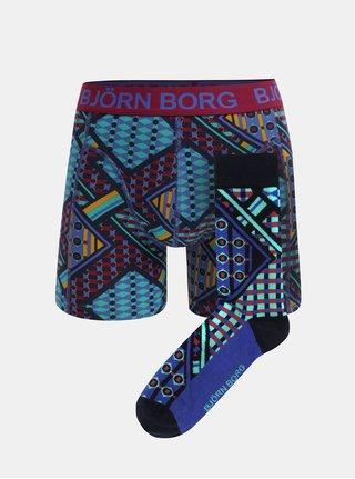 Balenie vzorovaných boxeriek a ponožiek v tmavomodrej farbe Björn Borg Sammy