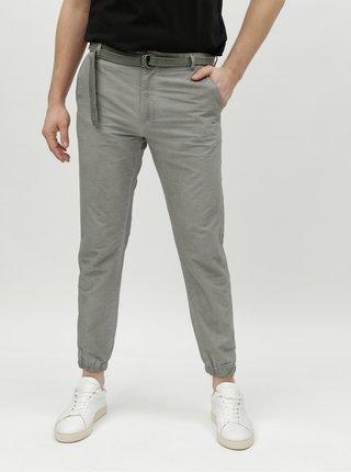 9f30d412df1 Zelené pruhované pánské chino kalhoty s páskem Broadway Fendi