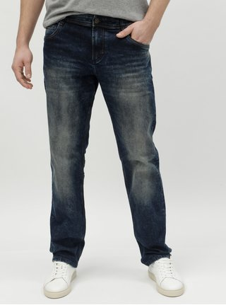 Modré pánské slim džíny s vyšisovaným efektem Tom Tailor