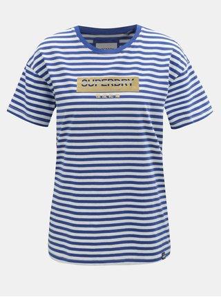 Tricou alb-albastru in dungi de dama cu imprimeu Superdry Minimal Logo