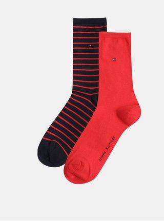 Sada dvou párů dámských ponožek v červené a modré barvě Tommy Hilfiger