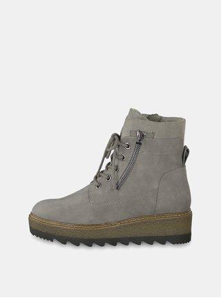 Šedé kotníkové boty na podpatku Tamaris e43e51b230