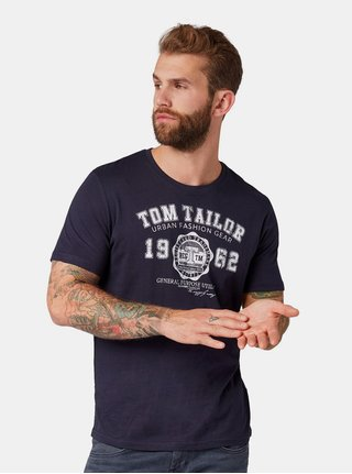 Tricou barbatesc albastru inchis cu imprimeu Tom Tailor