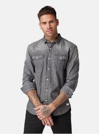 Camasa barbateasca gri din denim Tom Tailor Denim