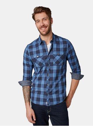 Modrá pánská kostkovaná regular fit košile s dlouhým rukávem Tom Tailor