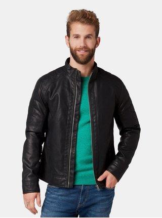 Jacheta barbateasca neagra din piele sintetica Tom Tailor