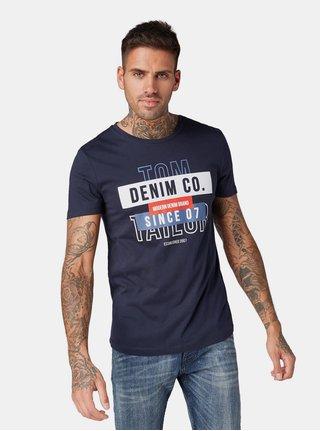 Tricou barbatesc albastru inchis cu imprimeu Tom Tailor Denim