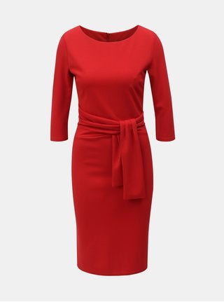 Červené puzdrové šaty s 3 4 rukávom ZOOT 2bd4c150055